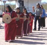 The River People Basket Dancers performing in Main Stage area near the Casa Grande during the 2009 American Indian Music Fest.