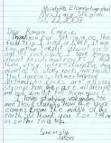 One of many letters received from local school kids participating in the Canyon Country Outdoor Education Program.
