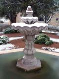 The Memorial's Spanish Garden was caught in a surprise freeze, including the central fountain feature.