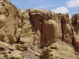 A picture of the prehistoric staircases in the cliffs behind Hungo Pavi