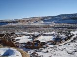 Pueblo Bonito in snow from the cliff top