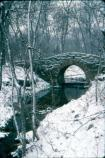 CCC-built footbridge near Buffalo Springs, seen in the snow.