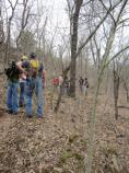 Gathering at the second location, where a portion of new trail was to be built.