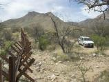 NPS law enforcement vehicle patrolling the park's boundary with Mexico
