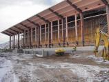 View of the Quarry Exhibit Hall under construction in late January 2011.