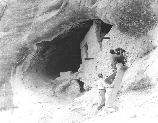 Photograph of progress of 1956 stabilization project in cave #4