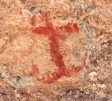 A pictograph near Cave 1 which looks like an anchor