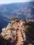 D2604 LOOKING DOWN WINDY RIDGE ON THE S KAIBAB TRAIL, GRAND CANYON N.P., DURING THE SPRING EQUINOX AT 4:45 PM. NPS PHOTO.