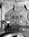 PHOTO OF WATCHTOWER MURAL WITH MARY COLTER'S NOTATION DRAWN OVER. CIRCA 1933. SANTA FE RR PHOTO