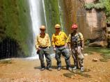 Crew and HTAs at Ribbon Falls for the Ribbon Fire