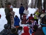 Student group with Ranger Carter exploring winter.