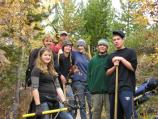 Trial volunteers with tools on String Lake trail, 2005.