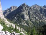 South Fork Cascade Canyon, jagged peaks, forests