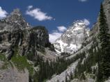 Garnet Canyon, Middle Teton, black dike, snow