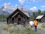 Visitors, Chapel of Transfiguration with Tetons