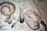 Detail of Fresco at Mission Concepción; unknown if fresco was not completed or whether color wore off.