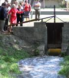 Sen. Kay B. Hutchison Opening the Acequia Gate at Mission San Juan Capistrano