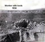 A worker employed by the New Deal poses while excavating the ruins at Tuzigoot in 1934.