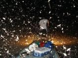 color photo of nightime picture of boat with thousands of flying insects reflecting white in flashlight