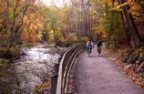 Towpath bikers ride the trail during the fall