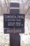 Towpath Trail sign in winter