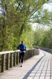 Runner on the Towpath Trail boardwalk