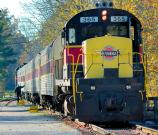 The Cuyahoga Valley Scenic Railway (CVSR) train pulls into a station