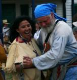 Native American woman and voyageur