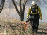 A firefighter ignites the grasses at Herbert Hoover NHs to start a prescribed burn of the tallgrass prairie.
