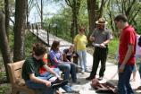 Ranger Bolli reviews water quality data with students