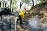 The prescribed fire is started with a