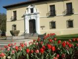 Park headquarters building, a Spanish renaissance style building looms large behind the bed of red tulips.