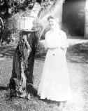 Bess Wallace stands in the yard of her home at 219 N. Delaware, circa 1905. Credit: Harry S. Truman Library, #72-3622.