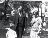Margaret, Harry and Bess Truman in the yard of the Truman Home, circa 1927. Harry S. Truman Library, #82-318.