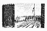 British Flag Replaces U.S. Flag, Astoria, 1813; illustration by William Macy V107-000184