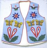 A man's vest with a butterfly and floral design.