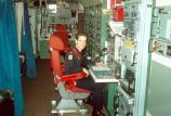 Missileer working at the deputy commander's console at an active site in the early 1990s.