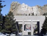 Mount Rushmore along with the Avenue of Flags.