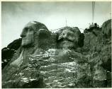 work progressing on Mount Rushmore during the winter