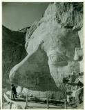 artist Gutzon Borglum looks over the work on Thomas Jefferson's face