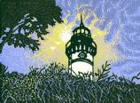 Wood cut block print of the Au Sable Lighthouse, by 2007 Artists in Residence McCafferty and Rudd.