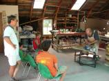 An interactive pottery demonstration drew a crowd at the Thoreson farm.