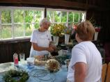 Demonstration of making herb wreaths at the Thoreson farm.