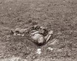 Gardner captured an incredibly sad image with this view of the twisted body of single dead Confederate soldier.