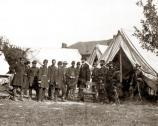 President Lincoln meets with Union Generals when he visits Antietam two weeks after the battle.
