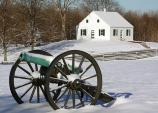 Dunker Church and cannons in the snow