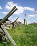 The Battlefield has restored the historic fences at Bloody Lane. The 132nd Pennsylvania Infantry monument is in the background.