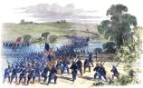 Sketch by artist Frank Schell depicting Union soldiers fording Antietam Creek. First appeared in Frank Leslie's Illustrated Newspaper October 11, 1862. The soldiers are claimed to be part of General Hooker's First Corp on their way to