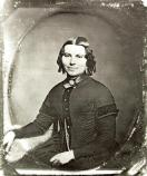Earliest known photograph of Clara Barton. Probably taken in Clinton, New York in 1850 or 1851 while she was a student at the Clinton Liberal Institute. She is about 29 years old.