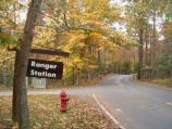 a picture of the leaves changing near the ranger station located near the campground